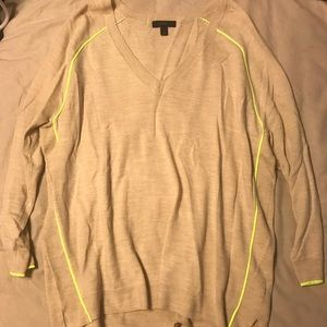 J Crew tan sweater with highlighter yellow accents